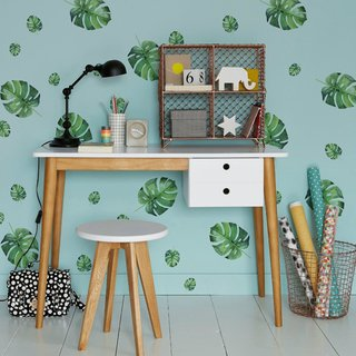 Vinilo decorativo Mini Monstera Leaves, colores vibrantes en tonos verdes
