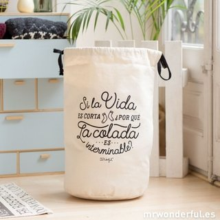 Canasta organizadora - SI LA VIDA ES CORTA ¿POR QUÉ LA COLADA ES INTERMINABLE? - Mr. Wonderful