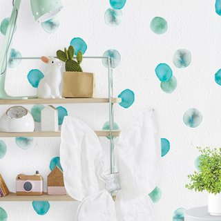 Mini Vinilo Teal Watercolor Dots, incluye 96 puntos de 5 x 4 cm aproximadamente