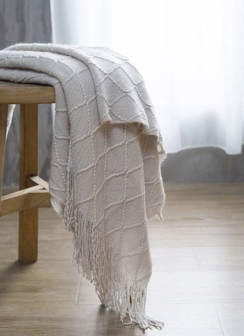 Throw texturizado decorativo - beige