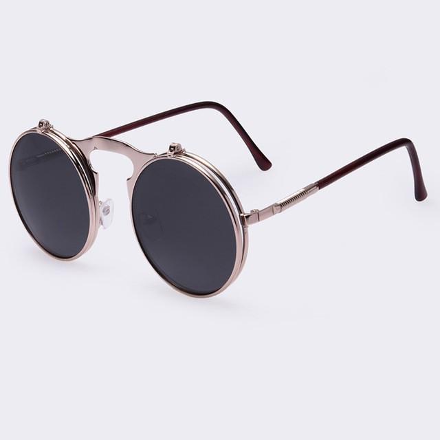 0c792f0d9 Óculos de Sol VINTAGE STEAMPUNK redondos ÓCULOS de sol em Metal steam punk  de Estilista ÓCULOS ...