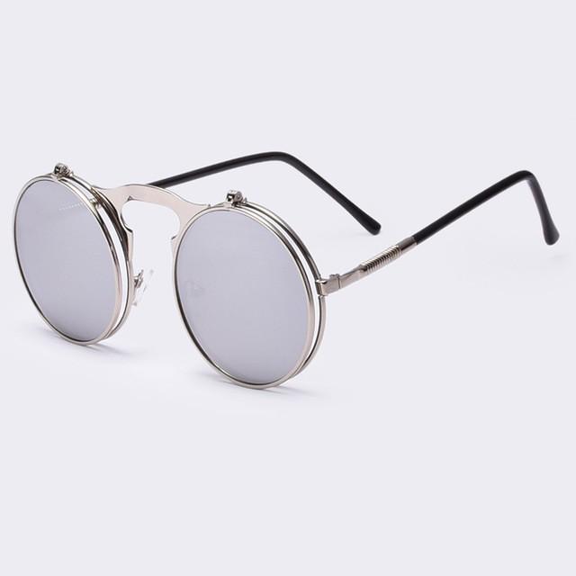 b136be986 ... Óculos de Sol VINTAGE STEAMPUNK redondos ÓCULOS de sol em Metal steam  punk de Estilista ÓCULOS ...