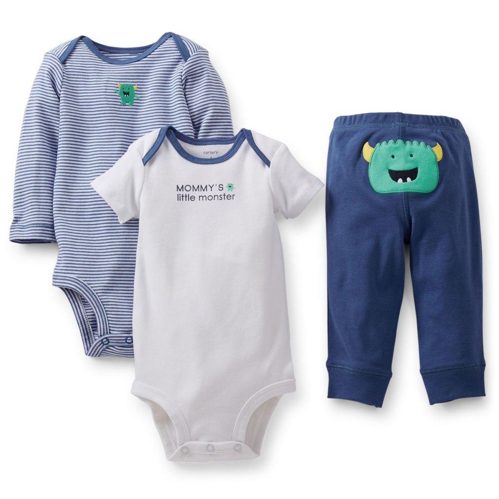 b7a782a84 Ropa carters para bebe - Conjunto 3 Piezas Bodies pantalón pequeño monstruo