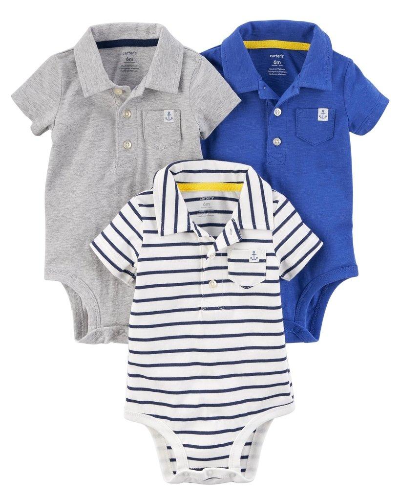 62db5c6f0d7 Ropa carters para bebe - Conjunto 3 camisas polo gris - azul -rayas