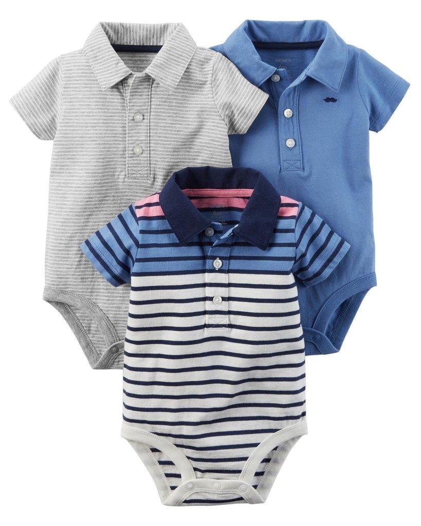 febf3afc6b3 Ropa carters para bebe - Conjunto 3 camisas polo gris - azul claro - rayas