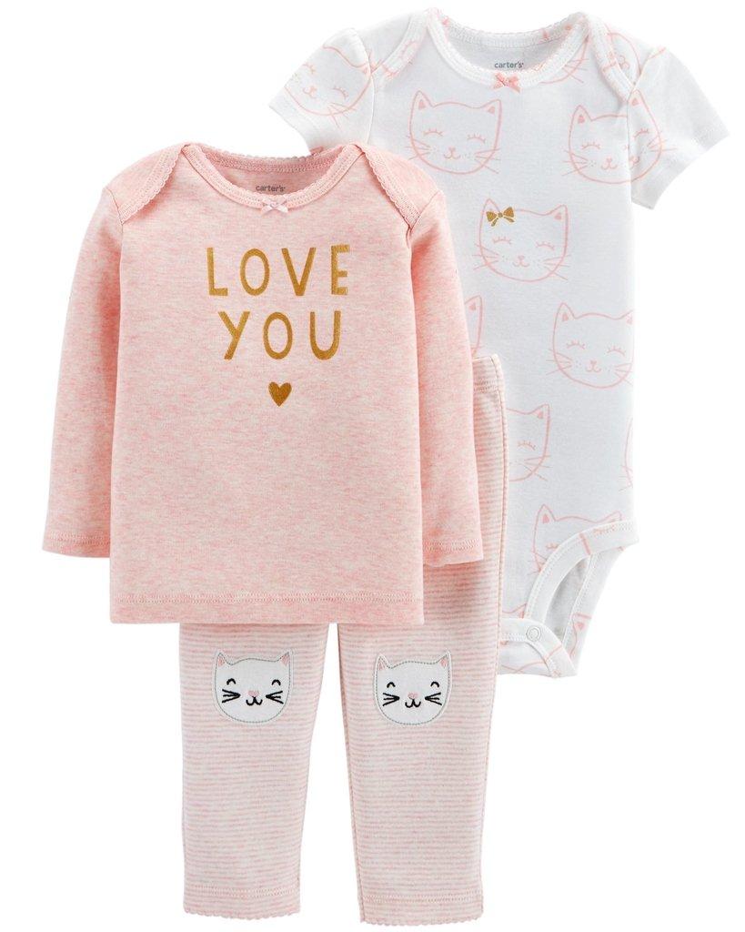 1e251611b Ropa carters para bebe - Conjunto de 3 piezas body y pantalon rosados  estampados gatitos y buzo rosado
