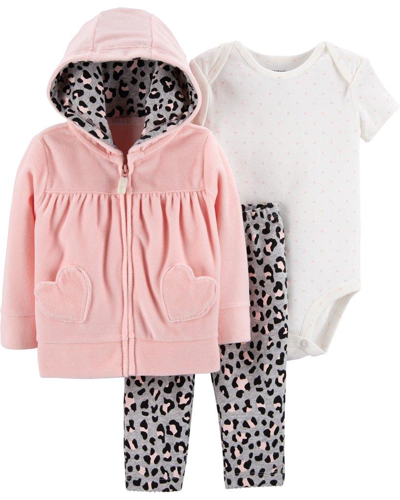 5eedc44f9 Ropa carters para bebe - Conjunto de 3 piezas chaqueta capota rosada ...