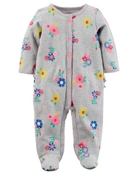 254c569f83 Ropa carters para bebe - Hermosa pijama gris flores