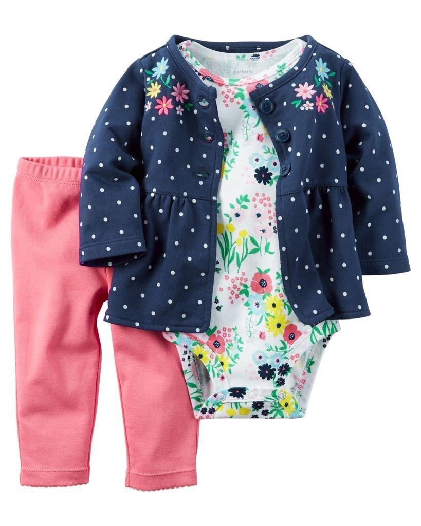 c6fc7bd8f Ropa carters para bebe - Conjunto 3 Piezas chaqueta body flores pantalón  rosado