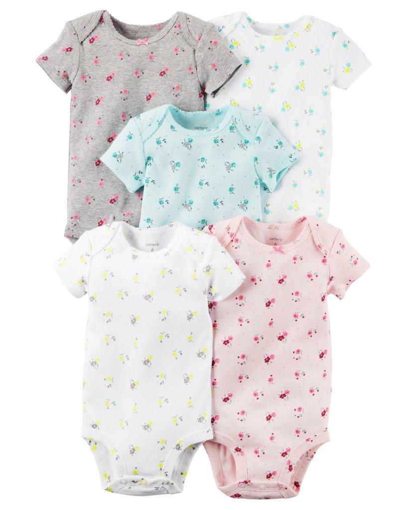 Ropa carters para bebe - Conjunto 5 Piezas Bodies manga corta flores bea387e33f0f