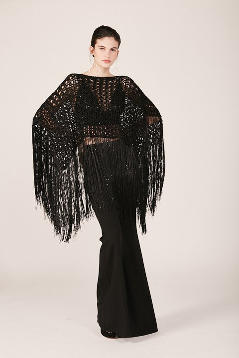 poncho doral negro - Paris by Flor Monis