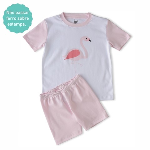 Pijama Flamingo camiseta manga curta + short na internet