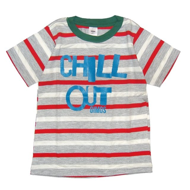 Remera Clasica m/c rayado rojo/bc/gris est Chill out