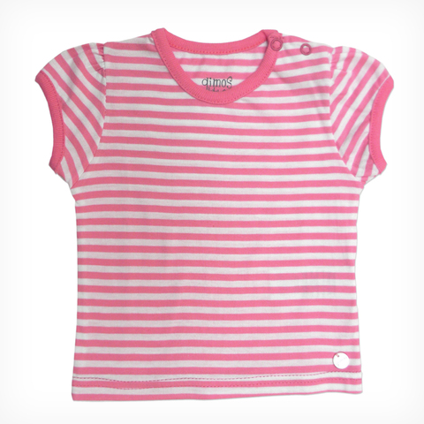 Remera Mini Bullo Rayado Rosa/Blanco