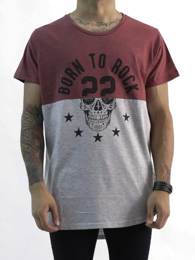 REMERA LONG FIT BORN TO ROCK