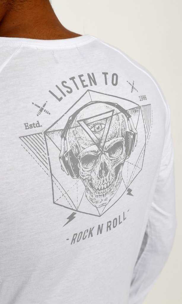 REMERA MANGA LARGA LISTEN ROCK MUSIC