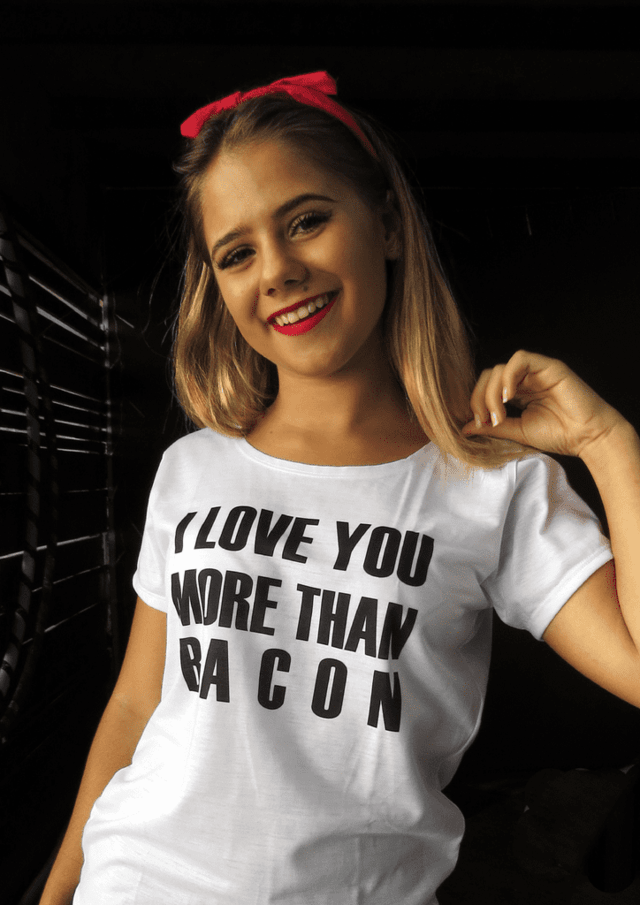 Camiseta I love you more than bacon