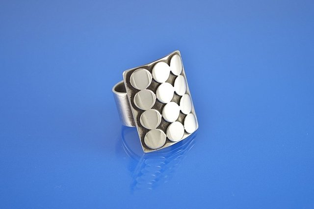 Sterling Silver Ring, Modernist, Statement, Mid Century, Brutalist, Contemporary Jewelry, 12 POINTS