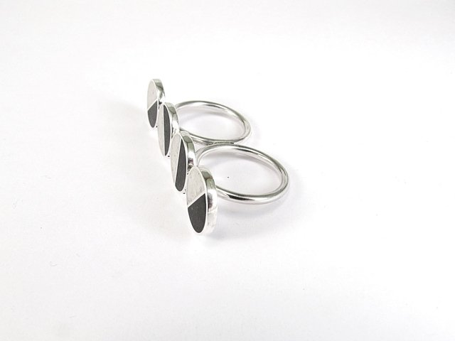 Statement Ring, Sterling Silver, Double Ring, Black, White, Divided Circles, Contemporary, Modern, Minimal on internet