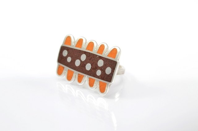 Anillo de Plata 925 - Flor - Colores Naranja y Chocolate - buy online