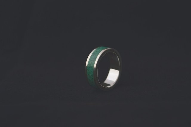 Anillo de Plata 925 - Banda de Color Verde on internet