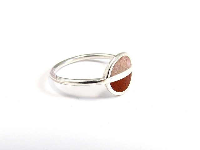 Saturn, Minimalist Ring, Sterling Silver Minimal Ring, Modern, Pink and Red, Contemporary Jewelry on internet