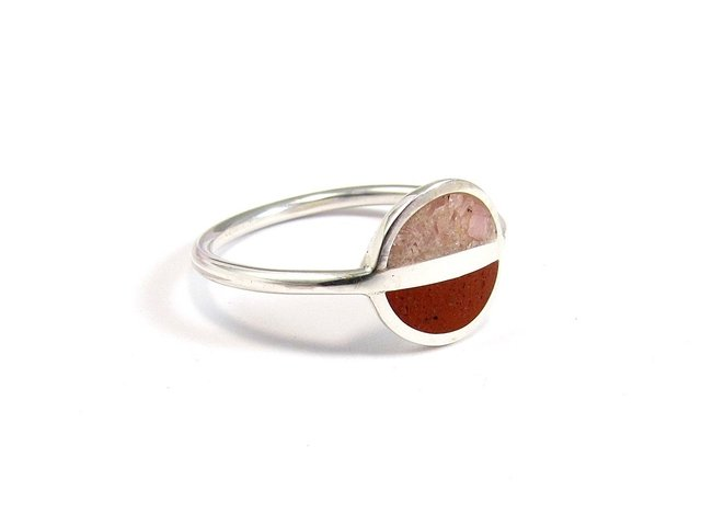 Saturn, Minimalist Ring, Sterling Silver Minimal Ring, Modern, Pink and Red, Contemporary Jewelry - buy online