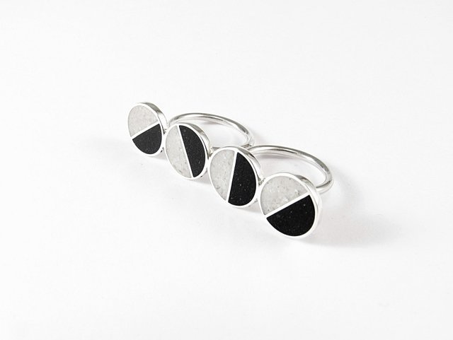 Statement Ring, Sterling Silver, Double Ring, Black, White, Divided Circles, Contemporary, Modern, Minimal - buy online