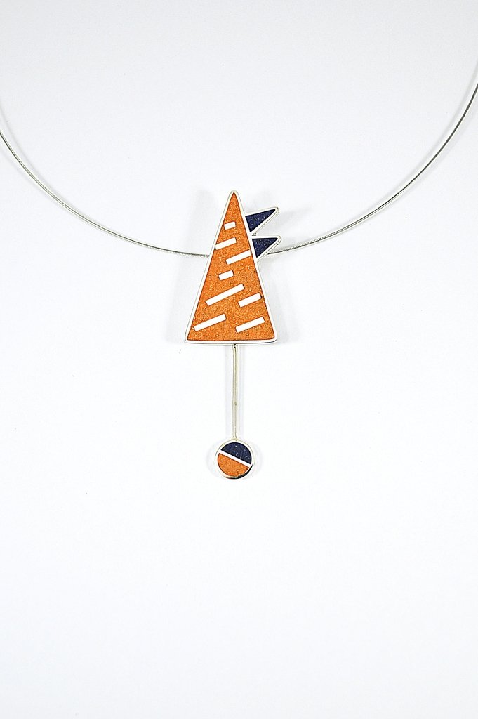 Colgante de Plata 925 - Montaña - Colores Naranja y Azul
