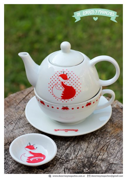// Juego Tea for One Porcelana Zorro + Platito de regalo