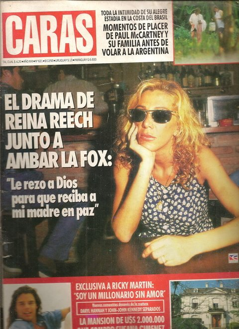 Revista Caras - Diciembre de 1993 - Reina Reech - Ambar La Fox - Ricky Martin - Paul Mc Cartney