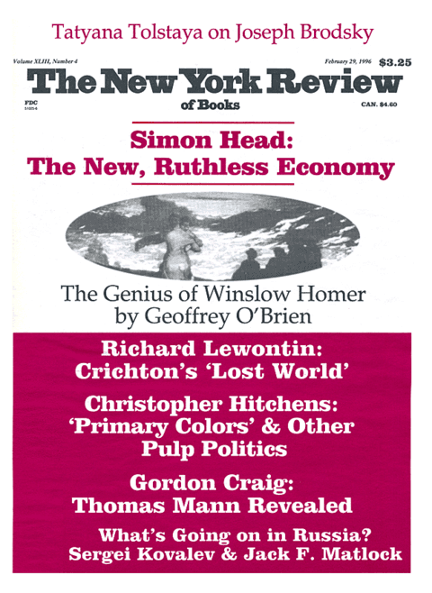 The New York Review Of Books - Febraury 29 - 1996