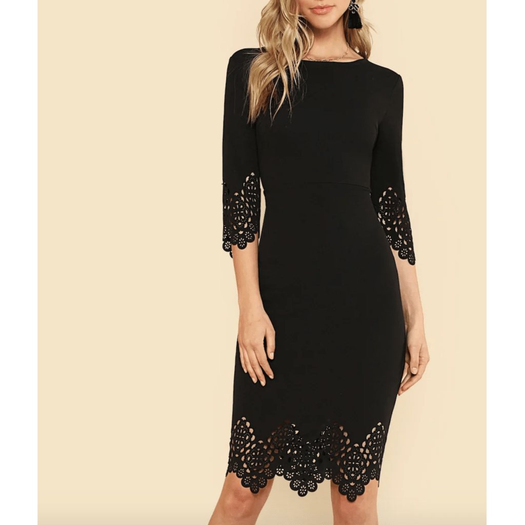 Vestido Negro Lapiz Corte Laser Rves258
