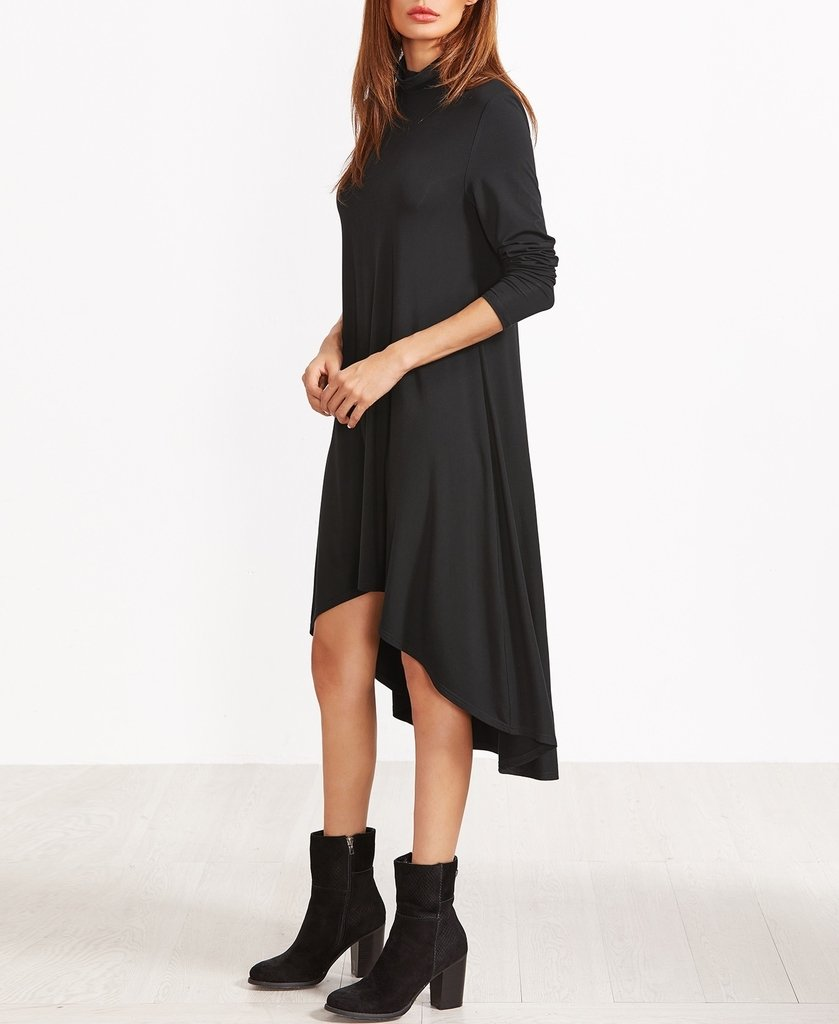 Vestido Negro Cuello Alto Corto Adelante Rves145