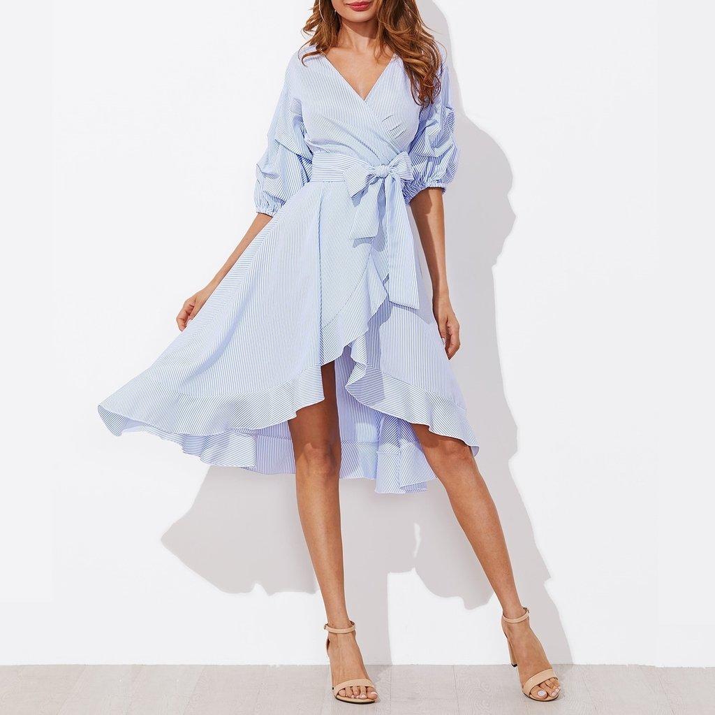 Vestido Azul Cruzado Mangas Recogidas Rves159