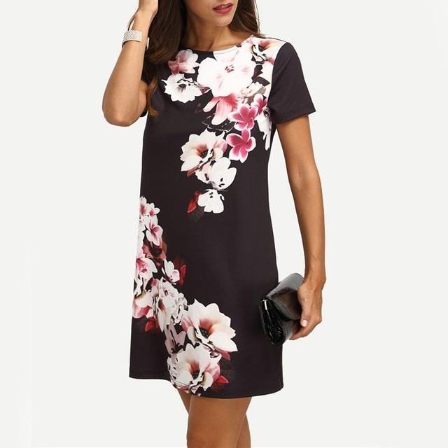 Vestido Negro Con Flores Manga Corta Rves072