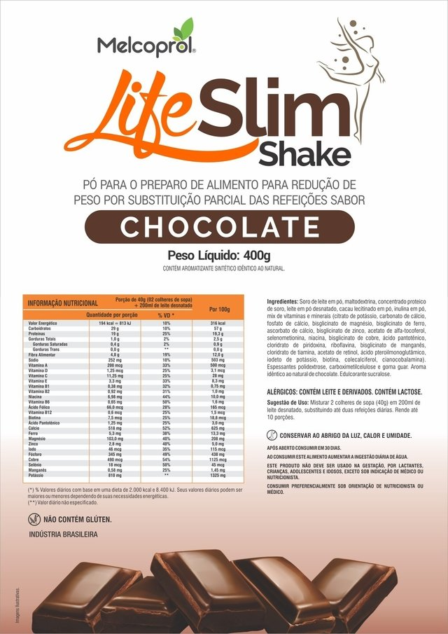 shake emagrecedor life slim - chocolate