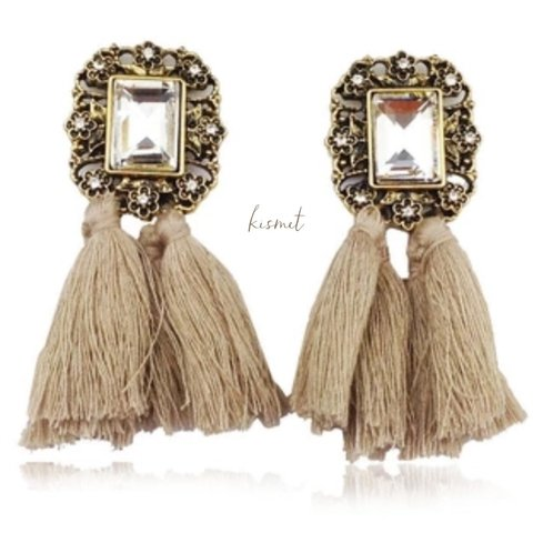 POMPOM BEIGE EARRINGS
