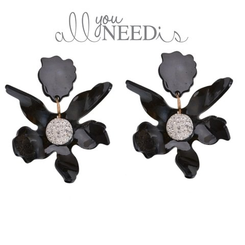 DAISY EARRINGS-BLACK