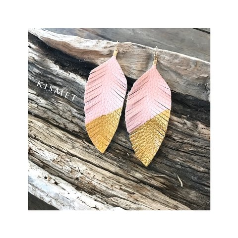 FAUX FEATHER LEATHER EARRINGS-LIGHT PINK