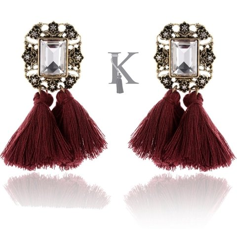 POMPOM EARRINGS-VINO