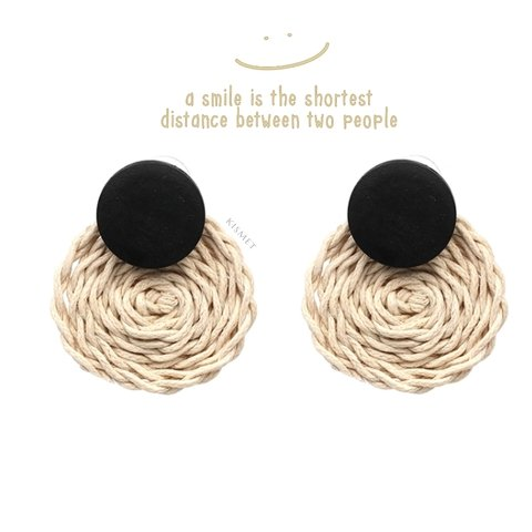 RATTAN ROUND EARRINGS-BEIGE