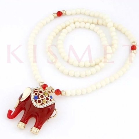 LUCKY ELEPHANT NECKLACE-RED