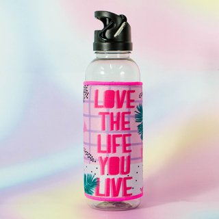 Botella Sport + Funda Love the life you live 3 unidades