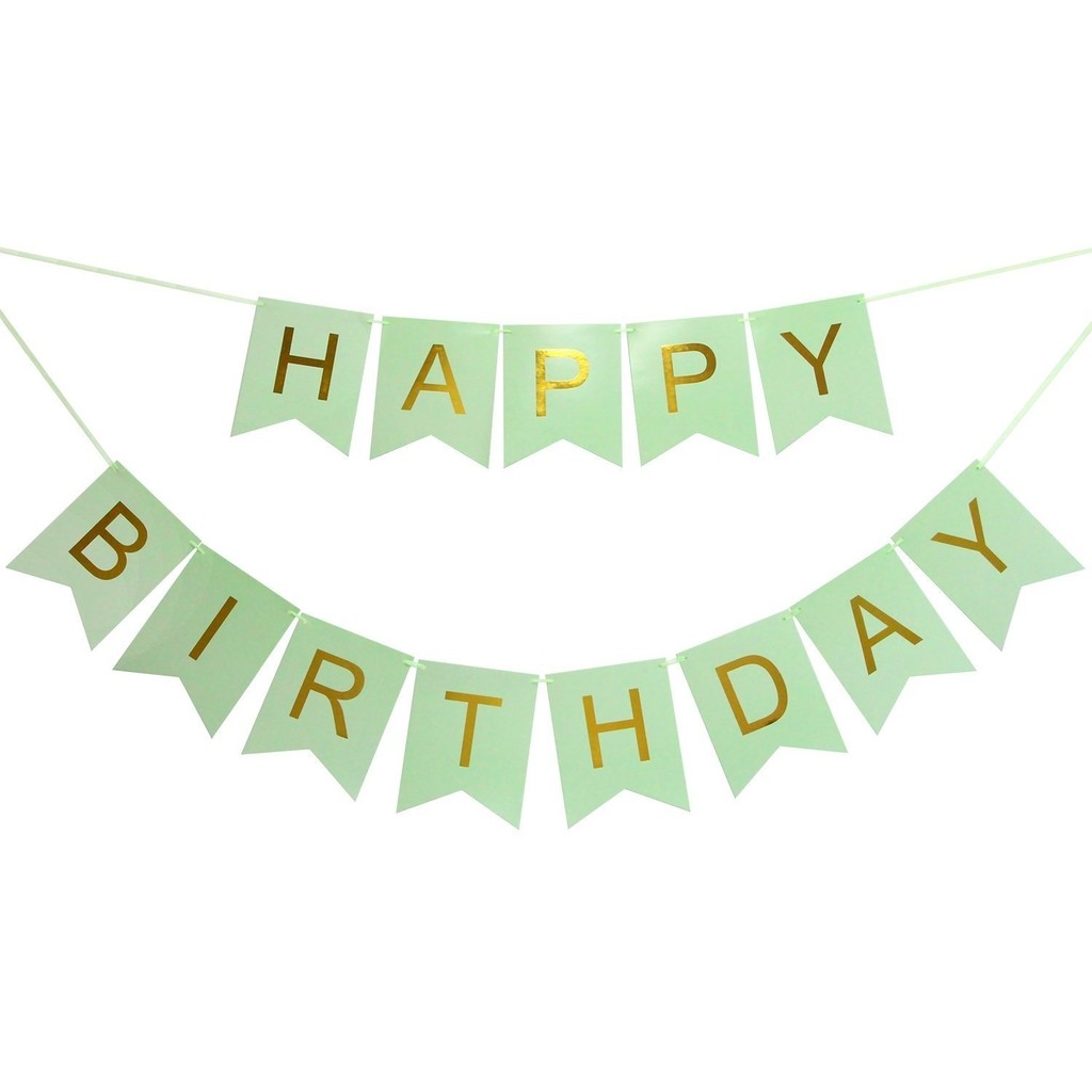 Banderines Happy Birthday Verde Pastel Letra Dorada