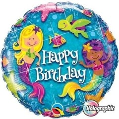 Globo Metalizado Holográfico Happy Birthday Mermaids. 46 cms.
