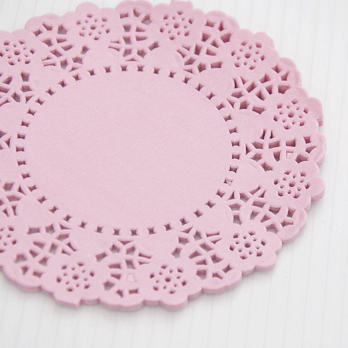 Blondas de papel rosado claro 11cms de di metro 24 unidades - Blondas de papel ...