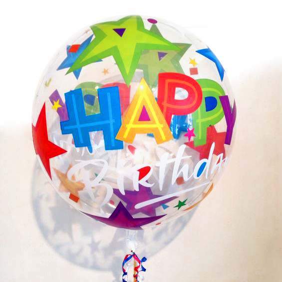 Globo Burbuja Happy Birthday Estrellas Brillantes. 56 cms.