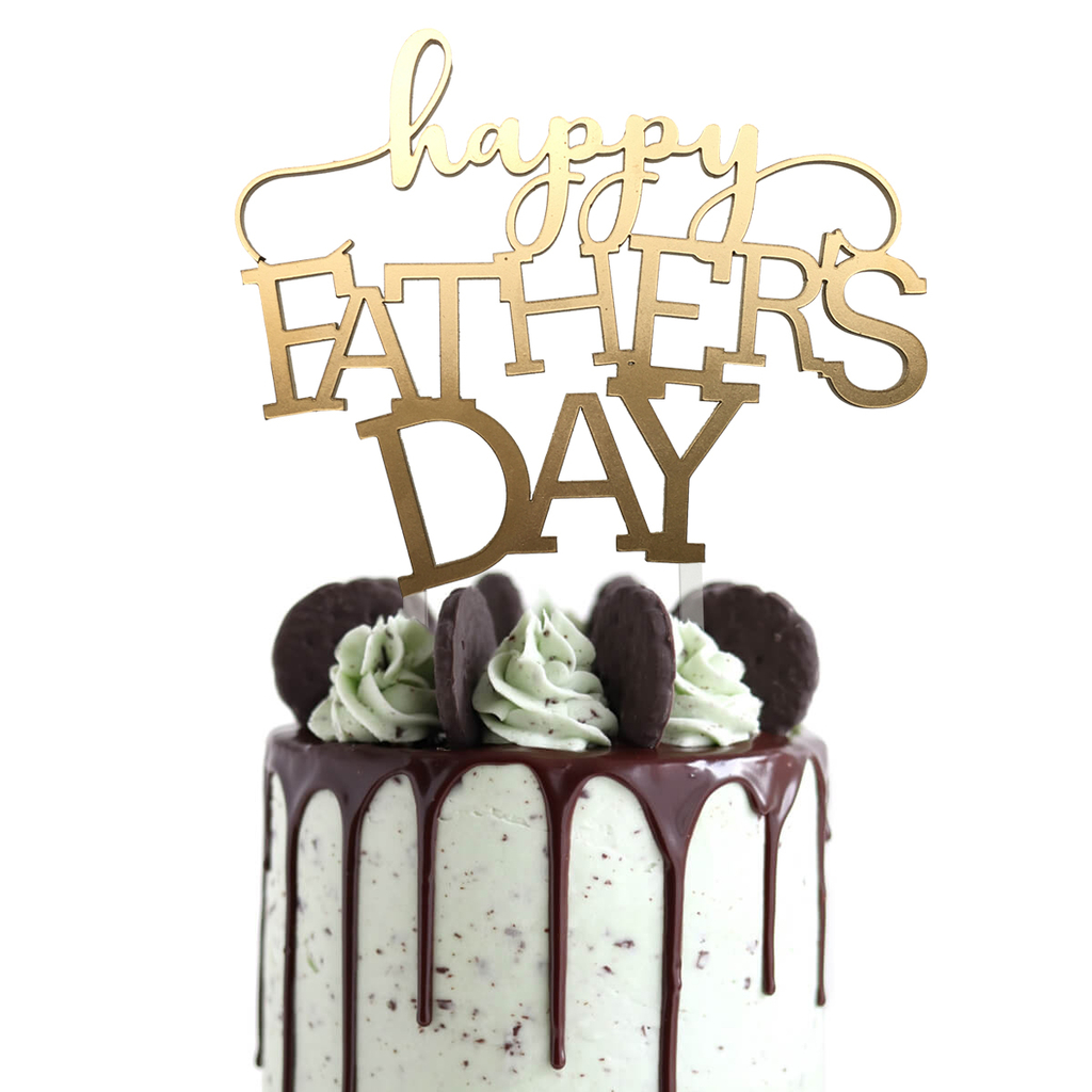 Topper para torta - Happy Fathers Day Dorado