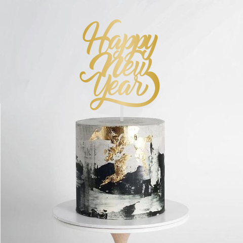 Topper para Torta Dorado - Happy New Year